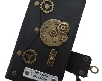 Personalised iPhone case - handmade leather iPhone 6 Plus case - steampunk leather iPhone case - leather iPhone 6 Plus cover - iPhone cover
