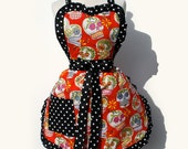 On Sale!!! Red Sugar Skulls Apron / Ready to ship