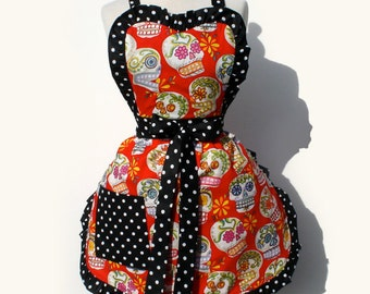 On Sale!!! Red Sugar Skulls Apron / Ready to ship Today