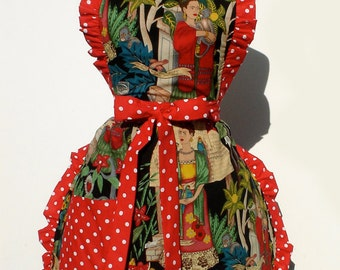Black and Red Frida  Apron
