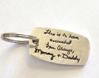 Double sided X-Large Silver KeyChain (or pendant) with message in your own writing or the writing of your loved one Memorial made to order