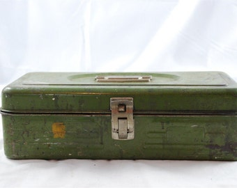 Vintage Green Metal Industrial Tackle or Tool Storage Box 1940's - 1950's