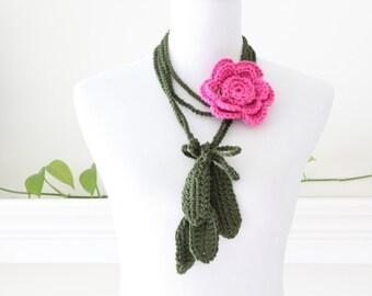 Hot Rose Lariat Necklace, Scarf, Scarflette