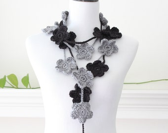 Crochet Gray and Black  Lariat Necklace, Scarf, Scarflette - set of 2