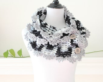 Crochted Long Black, Gray Neckwarmer or Scarf