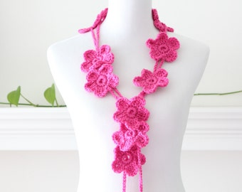 Crocheted Hot Rose Scarf, Necklace, Scarflette