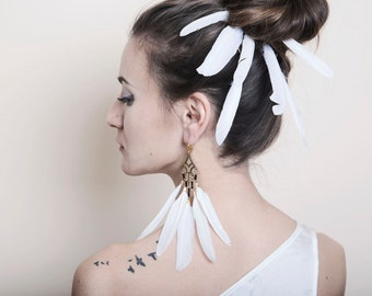 Long Feather Earrings, White Feather Statement Earrings