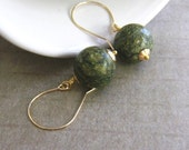 Green Agate Earrings, Dark Green Dangle Earrings, Handmade, Gold filled earwires