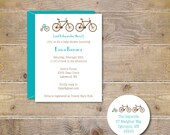 Bicycle, Bikes, Tricycle,  Baby Shower, Invitations, Baby Shower Invitations, Bike Invitation,  New Baby, Birth Announcements