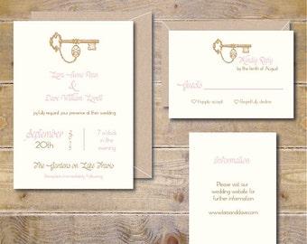 Wedding Invitations, Summer Wedding, Fall Wedding, Key Wedding Invitations, Outdoor Wedding, Vintage Wedding Invitations - Lock and Key