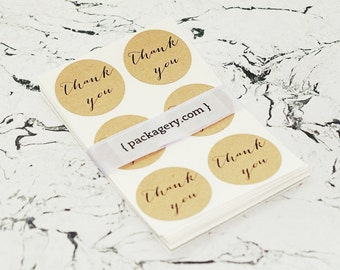 Calligraphy Thank You Brown Kraft Envelope Seal Stickers
