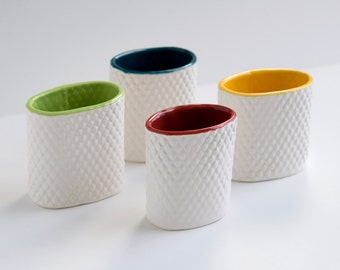 set of 4 pencil holders - textured clay with blue, red, green and yellow inside
