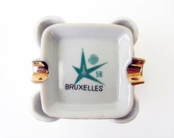 Expo 58 Brussels⎮vintage ceramic ASHTRAY⎮stackable set of 4⎮Manneken Pis⎮mid century modern retro⎮atomic style⎮collectible gift idea