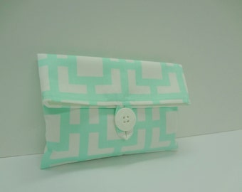 READY TO SHIP Makeup Bag in Mint and White Fabric  - Mint Wedding