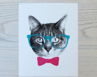 gee whiskers series: nerd screenprinted cat art print