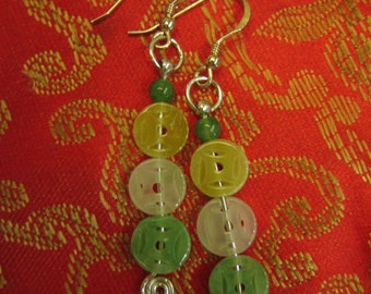 Ancient Coins ..... Natural Jade Silver Wire Wrapped Earrings