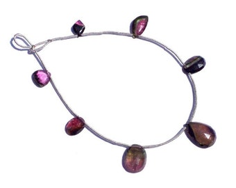 Bio Tourmaline Faceted Slices Semiprecious Gemstone Beads (Quality A) / 7 Pieces / CODE 669