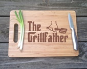 THE GRILL FATHER Engraved Cutting Board Bamboo Cutting Board 14 X 9.75 X .75 Gift For Dad Christmas gift