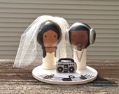 Boom Box DJ Music Themed WEDDING Cake Topper Custom Kokeshi Spool Doll 3D Headphones Record Musical Notes Stand Wooden Wedding Cake Topper