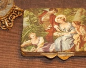 Romantic Italian Silk Print Compact by Flair 5th Ave. Ladies Face Powder Make up with mirror