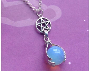 "Pentacle Opalite crystal ball necklace on 18"" rolo chain"