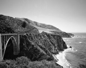 Fine Art photography, Bixby Bridge, PCH, Pacific Coast Highway, California, black and white, vintage, 8x12