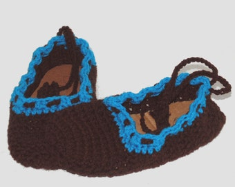 Brown and Bright Teal Crochet Slippers, Adult Slippers, Woman's Slippers, Ladies Slippers, Spa Slippers, Bridesmaids Slippers, Size 8 Shoes