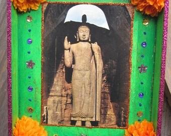 Buddha shrine, shadow box, altar, folk art, nicho