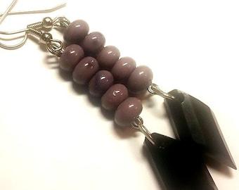 Purple Dangle Drop Earrings