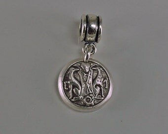 Greyhounds Crest Fine Silver Pandora-Style Charm Pendant