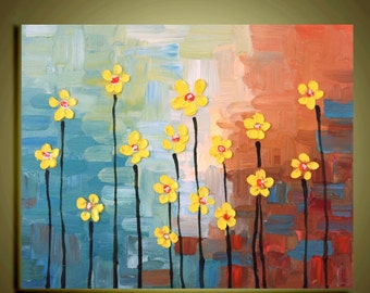 """Original abstract Oil contemporary yellow Flower painting  landscape palette knife floral impasto art 16""""x20""""Ready to Hang by Qujun"""