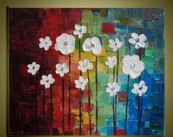 "Original abstract Oil contemporary white flowers landscape palette knife floral impasto painting 20""x24""Ready to Hang by Qujun"