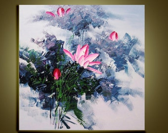 "Original Oil Painting  Abstract Modern Palette Knife Floral fine art on Canvas Lovely lotus Ready to Hang by Qujun 28"" by 28"""