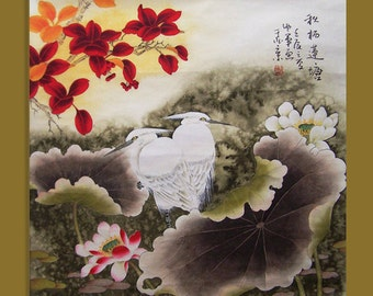original painting floral painting chinese traditional art lotus with two agrets