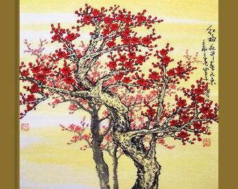 Original painting oriental art chinese art  -Lovely cherry blossom tree No.2