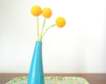 Large Felt Flowers - Sunflower Bright Yellow Flowers - Pompom Flower bouquet - Wool felt round ball blooms - Fake Craspedia - Billy Balls