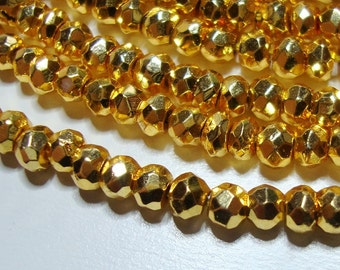 2 x Full strand, 3.5 mm, Lovely Sparkling Gold Pyrite Micro Faceted Rondelle - Beautiful Gold looks like Real 22k Gold