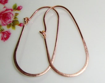 30x16mm, 20.5gauge, Handmade 18K Rose Gold over 925 Sterling Silver Half Hammered Long Oval Earrings Hoop Ear Wire, EW-0021