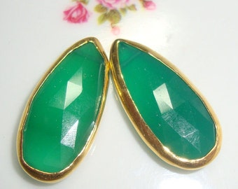 AAA Beautiful Green Onyx Faceted Pear Briolette Vermeil Connector Link Pendant, Earrings Pair, 25-26x16mm, S28-2, 15% sale