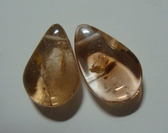 Genuine Imperial Topaz Smooth Pear Briolettes, Gorgeous Imperial Topaz, 13x8.5mm, 2 pcs - f14-9