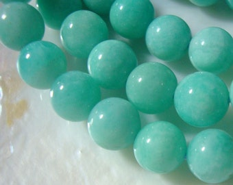 "1/2 Strand, 7"" strand, 7.5 mm, Beautiful Peru Amazonite Azure Blue Smooth Round Beads, AAA"