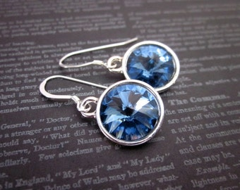 Denim Blue Swarovski Crystal Earrings -- Silver & Denim Blue Earrings -- Denim Blue Crystal Dangles -- Denim Blue Earrings