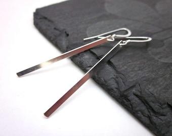 Silver Bar Earrings -- Sterling Bar Earrings -- Thin Silver Earrings -- Silver Stick Earrings -- Long Stick Earrings -- Straight Earrings