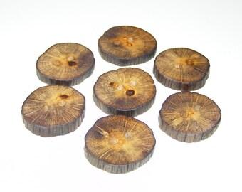 "Small 7 Handmade  oak wood buttons, accessories ( 1,18"" diameter x 0,24"" thick)"