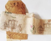 Vintage French Hand Stamped Ribbon Frayed French Country French Vintage Fabric Ecru Rose Pink Green Tea Dyed Ribbon