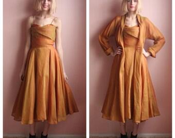 SALE 1950's Party Dress / Bridal Party Dress / Designer Del Mar / Organdy Iridescent Orange Cotton Jacket and Full Skirt Dress