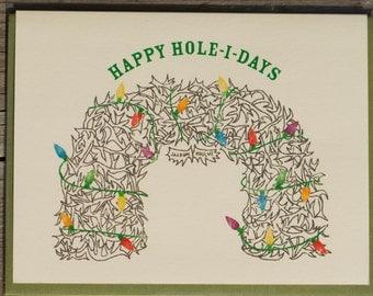 Happy Hole-I-Days Holiday Card QTY 1