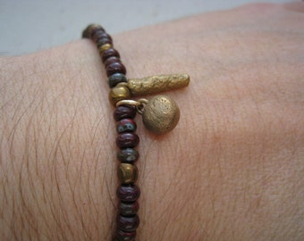 Rich Burgundy Glass Seed Bead Bracelet with Bronze Charms - Burgundy Bracelet - Beaded Bracelet - Layer Bracelet