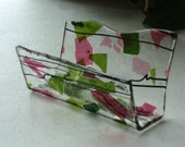 Fused Glass Business Card Holder -  Pinks and Greens 128142