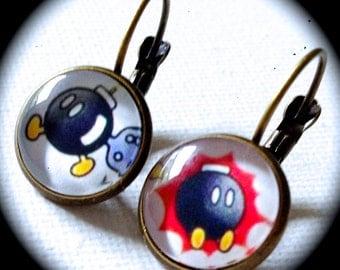 BOB-OMB . Glass Pendant Earrings . Nintendo . Super Mario Bros . Cosplay Kawaii . Bomb . Videogame . Gamer . GirlGameGeek